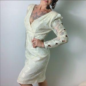 VINTAGE 80s Lace Cut Out Long Sleeve Dress